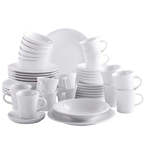 Kahla 320808M90032C Update Komplettset Geschirrset für 6 Personen großes Porzellanservice Tellerset rund modern weiß 42-teilig Tassen Becher Teller Schale