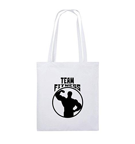 Comedy Bags - TEAM FITNESS - Jutebeutel - lange Henkel - 38x42cm - Farbe: Schwarz / Pink Weiss / Schwarz