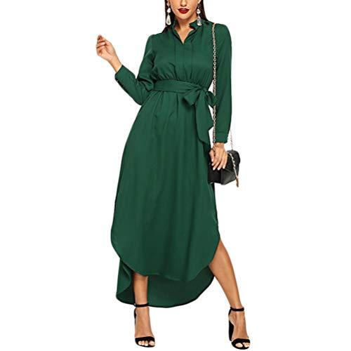 Ann Taylor Kleider (XIGUAK Frauen-grünes beiläufiges Belted Hemd-Kleid-Frühlings-Sommer-Standplatz-Kragen-hohe Taillen-Arbeits-Geschäfts-gerades Maxi-Kleid)