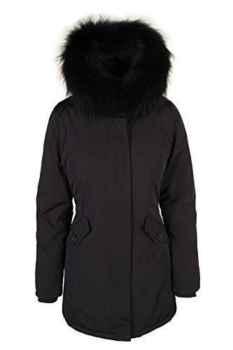 Damen Schwarz lange Echtfell Winterjacke Winter Parka Jacke mit Pelz Outdoor Echtpelz mit abnehmbarem Fell Daunenjacke Mantel , Größe:34 (Mantel Für Frauen, Canada)