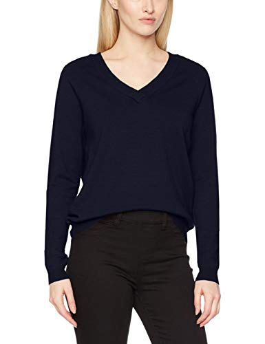 VERO MODA Damen Pullover VMKARIS L/S V-Neck Blouse NOOS, Blau Night Sky, 38 (Herstellergröße: M)