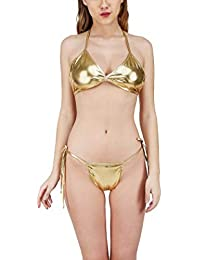 76ec4e5d2bd Mpitude Women PU Spandex Metallic Halter String Bikini Set (Golden  Metallic, Free Size)