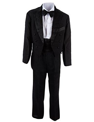 Festlicher 5tlg. Jungen Smoking in vielen Farben mit Hose, Hemd, Weste oder Kummerbund, Fliege und Jacke M314ksw Kummerbund Schwarz Gr. 1 / 74