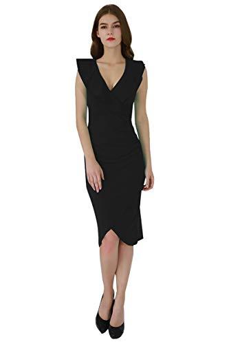 YMING Damen Midi Kleid Rüsche Kleid Tief V-Ausschnitt Partykleid Bodycon Stretchkleid,Schwarz,XL/DE 42-44