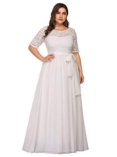 Ever-Pretty Damen Abendkleid A-Linie Spitze Spitzenkleid Kurze Ärmel große Größe lang Weiß 52