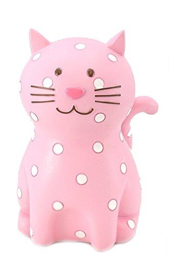 Salvadanaio a forma di gatto, rosa con pois bianchi