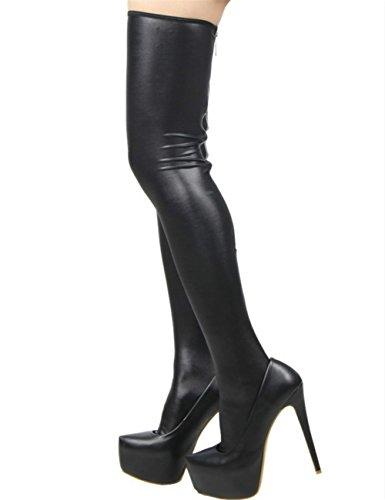 KuSen Damen Classic Faux Leder Socken Schwarz Schwarz
