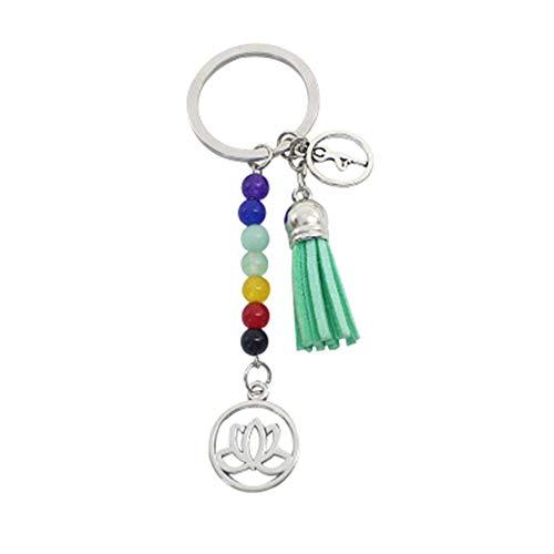 AIUIN Schmuck 7 Chakra Schlüsselbund Edelstein Lotus Quaste Schlüsselanhänger Anhänger Schlüsselring Keychain (Grün) -