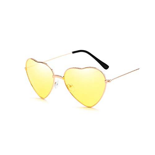 Sport-Sonnenbrillen, Vintage Sonnenbrillen, Ladies Heart Shaped Sunglasses Women Brand Designer Fashion LOVE Clear Ocean Lenses Pink Sun Glasses Female Oculos UV400 YELLOW