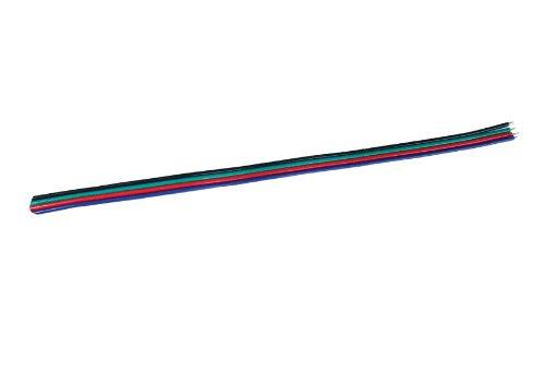 2 Meter langes 4 Pol Kabel 4x0,6mm Verlängerung für RGB LED Streifen Strip Leiste Band (2m) - Armee Grün Abgeschnitten