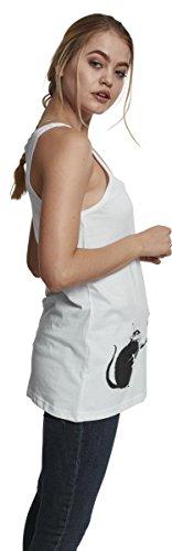 MERCHCODE Damen Banksy Painter Rat Tanktop white