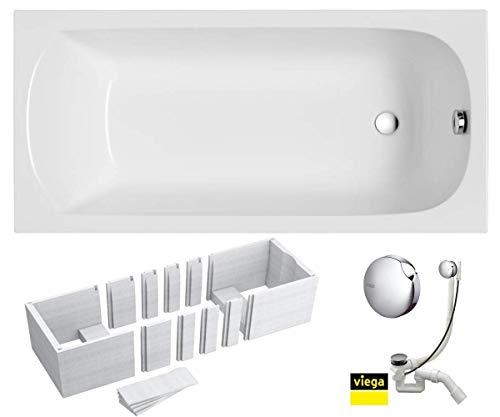 VBChome Badewanne 140x70 cm Acryl SET 3in1 Wannenträger Siphon Wanne Rechteck Weiß Design Classic Styroporträger Ablaufgarnitur in Chrom Viega Simplex für 1 Personen (140x70)
