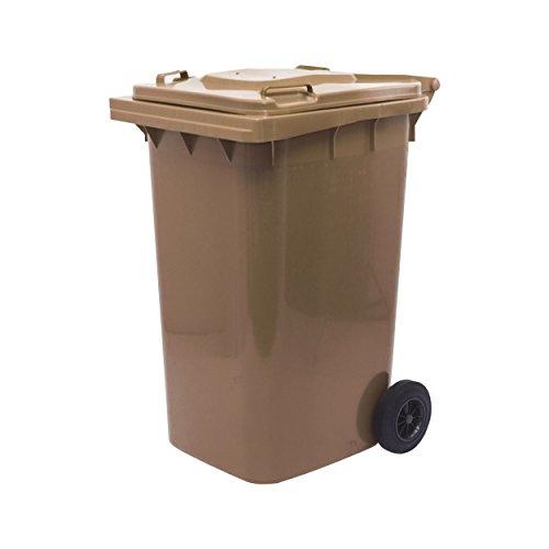 *Mülltonne Abfalltonne Reststofftonne 240L laufruhige Räder (Braun)*