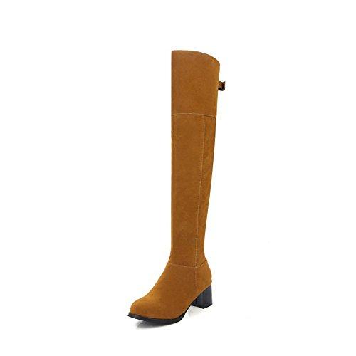 AgooLar Damen Mittler Absatz Rein Rund Zehe Reißverschluss Stiefel mit Metallisch Gelb