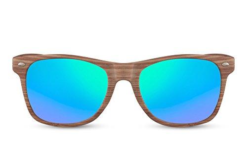 Cheapass Sonnenbrille Wayfarer Braun Blau Verspiegelt Holz-Muster Natur-Optik Nerd-Brille UV-400...