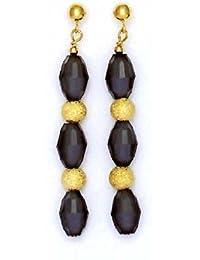 Or jaune 14carats 9x 6mm noir jais en cristal–Boucles d'Oreilles Pendantes Femme –