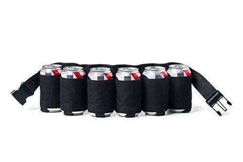 Ayouyou Outdoor Biergürtel Getränke Rucksack für 6 Flaschen Bier flaschenhalter Outdoor Besteck-Set Beer Belt (Schwarz)