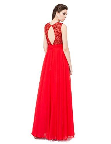 Dresstells Robe de cérémonie Robe de bal forme empire emperlée longueur ras du sol Rouge Foncé