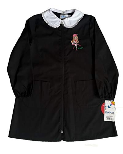 Siggi grembiule scuola elementare bambina bimba nero cerniera colletto bianco (12 anni - h. 152 cm.)