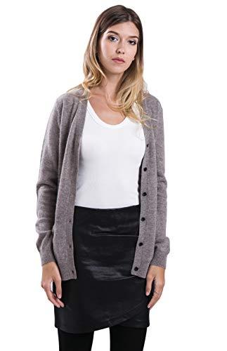 cashmere 4 U 100% Reinem Kaschmir Strickjacke Pullover Cardigan V-Ausschnitt für Damen -