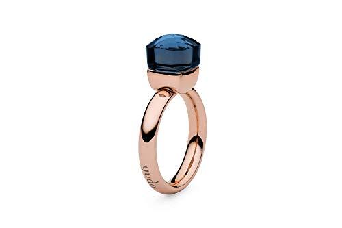 """Qudo""""Firenze"""" rose Ring mit blauem (dark blue) farbenem Stein (58 (18.5))"""