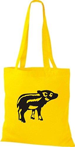 Shirtstown Wildschwein Stoffbeutel Ferkel Eber Tiere Gelb Frischling Schwein Sau 4xC4vrwq