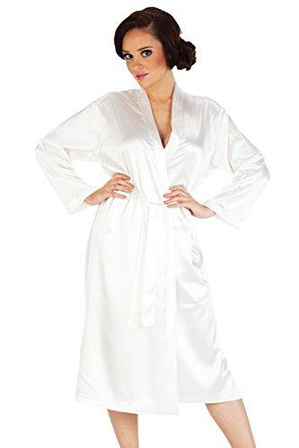 Nachtwäsche Morgenmantel Kimono aus Satin Classic lang Weiß