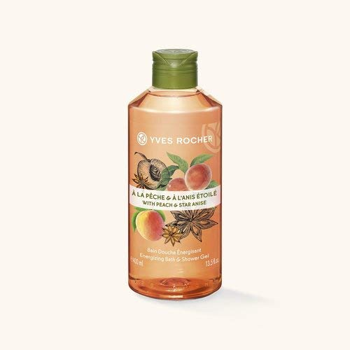 Yves Rocher LES PLAISIRS NATURE Duschbad Pfirsich-Sternanis, Aroma-Schaumbad & pflegendes Duschgel, 1 x Flacon 400 ml -