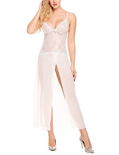 #ADOME Frauen Babydoll Kleid Dessous See-Through Kleid Nachtwäsche Nachtwäsche mit G-Schnur#