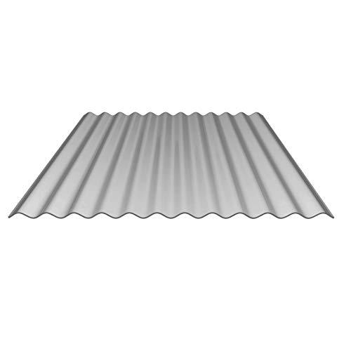 Sparpaket Wellplatten + Befestigung | Lichtplatte | Profil 76/18 | Material Polycarbonat | Breite 9,63 m | Länge 2,00 m | Stärke 1,10 mm | Farbe Silber-Metallic