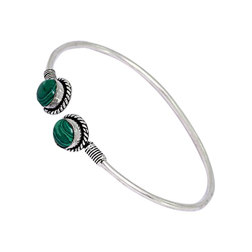 Jaipur Mart Handmade Collection Silver Tone Oxidised Aqua Stone Studded Kada Bracelet Holi Special Jewellery Gift For Her, Girl, Women, Mother, Sister, Girlfriend, Party, Daily Wear  available at amazon for Rs.309
