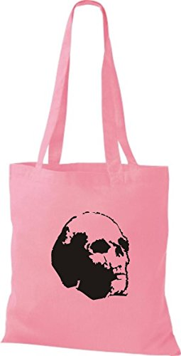 10e92f7d74a63 ShirtInStyle Stoffbeutel Skull Totenkopf Schädel diverse Farbe classic pink