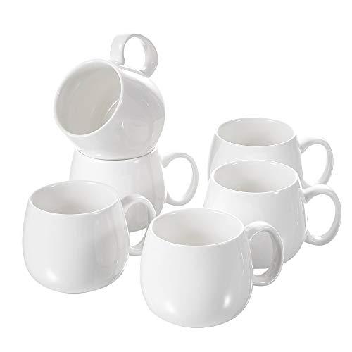 Panbado, Porzellan Kaffeetassen Weiß, 6 teilig 375 ml Tee Kaffee Tassen Set - Tee-set Porzellan Aus Weißem