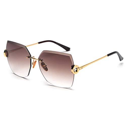 MINGMOU Braun Ohne Rahmen Sonnenbrille Frauen Mit Strass Sommer Geschenk Randlose Sonnenbrille Für Frauen Quadrat Uv400