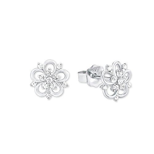 Amor Damen-Ohrstecker 0,9 cm Blume 925 Silber rhodiniert Zirkonia weiß