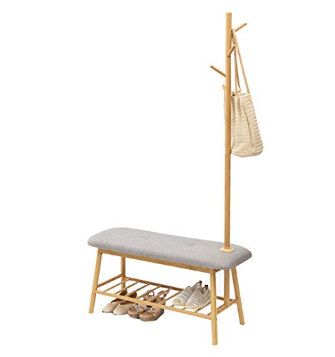 Estilo nórdico Zapatero y Perchero Un Piso de pie Diseño Bambú Hogar  Entrada Vestíbulo Taburete Pasillo 8e4c2258e0d