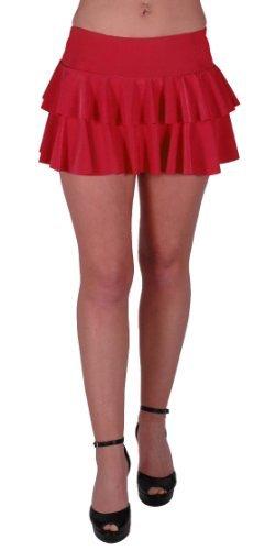 EyeCatchClothing - Amber gekräuselter hautenger Neon Minirock Rock Partyrock Rot M/L