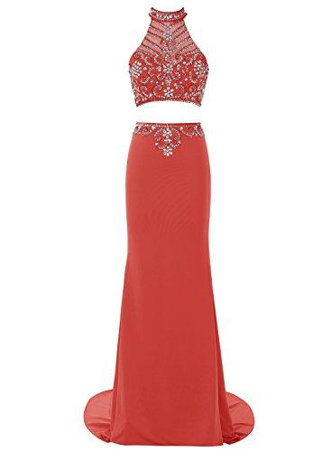 Bbonlinedress Robe de cérémonie et de soirée à traîne col roulé emperlée florale deux pièces en mousseline Rouge