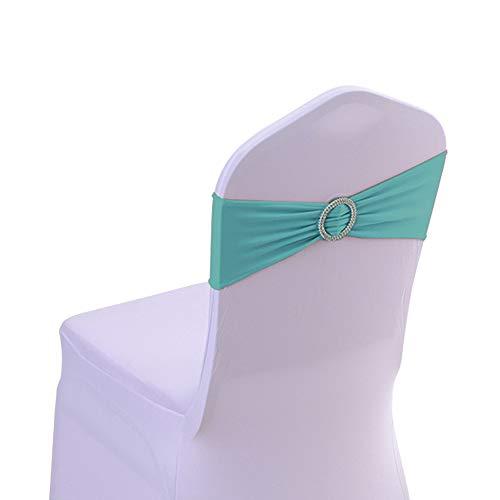 Aufun 50 Stück Stretch Stuhlhussen Stuhl Schärpe Stuhl Bezüge Stuhlbänder mit Schnallen für Hochzeitsdekoration, Jahrestag Partys - Tiffany-Blau, Nur Stuhl Schärpe, ohne Stuhlhussen Stretch