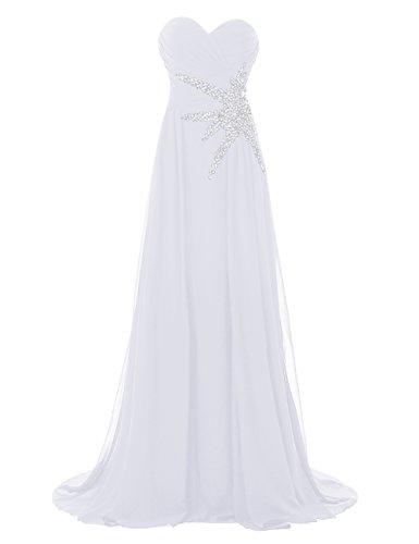 Bbonlinedress Robe de cérémonie Robe de demoiselle d'honneur bustier en cœur longueur ras du sol Blanc