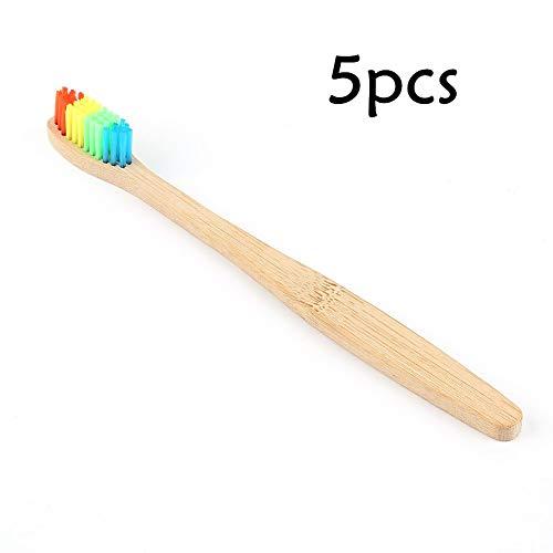 Youlala Cepillo de Dientes de bambú arcoíris, cerdas Suaves y respetuosas con el Medio Ambiente (Incluye Caja para Cepillo de Dientes), Madera, 5 Unidades