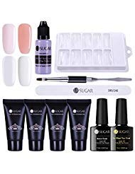 UR SUGAR 30ml Poly Quick Gel Nail Building Kit-Nagel Slip Solution Liquid, 100Pcs Nagelspitzen Form, Pen Brush+Picker, Top Coat und Base Coat Kit - Gel-acryl-kit