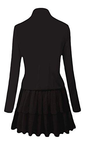 erdbeerloft - Damen Langarm Kleid mit Schnürung am Ausschnitt, XS-XL, Viele Farben Schwarz