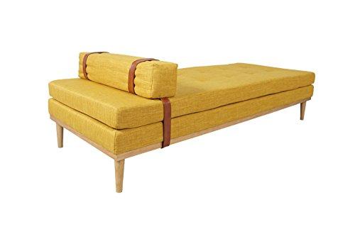 Ottomane Einzelbett (SalesFever® Daybed Mesa, Relaxliege oder Gästebett, in Curry-Gelb, zum Entspannen, Liegen und Sitzen, trendiges Polstermöbel, 81,5 x 201 cm)