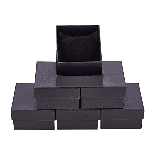 BENECREAT 6 Pack Schwarz Matt Kraft Karton Schmuckschatullen Geschenkboxen mit Samt gefüllt für Armbanduhr quadratische Form, 8.7x8.7x5.5cm