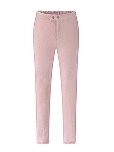 Damen Skinny Hose Bleistifthose Lässige Stoffhose Chino Hose Pink