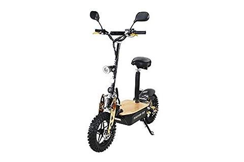 E-Scooter Roller Original E-Flux Vision X2 2000 Watt 60V mit Straßenzulassung 10 Zoll Reifen Extra groß Geländereifen Elektroroller E-Roller stärkster E-Roller mit Straßenzulassung (Schwarz/Gold)