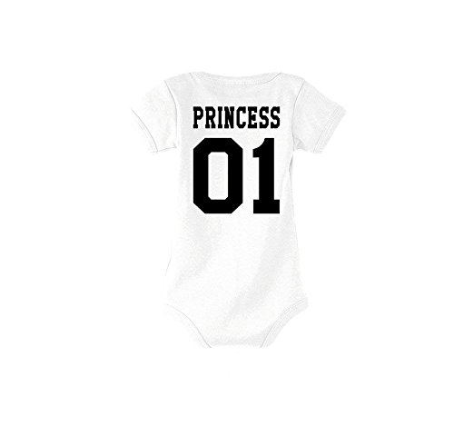 Baby + Herren + Damen T-Shirts Strampler Set Modell King & Queen, Prince & Princess/Für die ganze Familie/in versch. Farben (Princess/Weiß, 9-12M) -