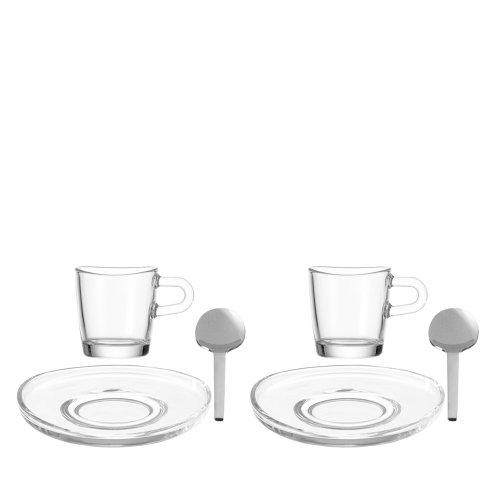 Leonardo 017412 Set/Espresso Loop 6 Stück (2 Löffel + 2 Teller + 2 Tassen)