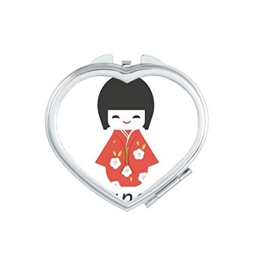 DIYthinker Espejo de Bolsillo japonés Tradicional Local de la niña el corazón del Juguete Maquillaje...